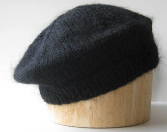 Black Beret Handknit in Mohair Acrylic Blend Yarn - Soft and Lovely!