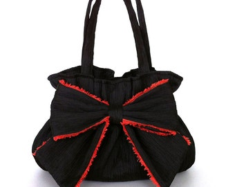 Black bow bag  handbag with bow Vegan black purse Handmade bow bag New trend Gift for mom Bow purse Day and night bag crushed fabric bag