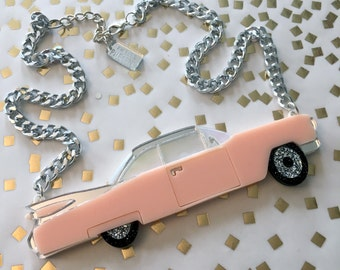 Vintage Cadillac Laser Cut Acrylic Necklace