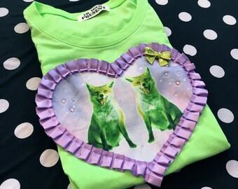 Galaxy Foxes Digital Print Heart Applique T Shirt S/M