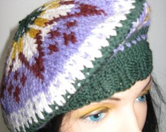 Unisex Fair Isle Beret Tam made with Alpaca and Wool Yarn, Ladies Hand knit Tam, Fair Isle Beret Hat, Mens Soft Alpaca Winter Hat