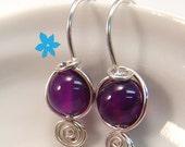 Purple Alexander Rosa drop earrings Sterling Silver