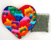Catnip Valentine Heart Toy and Catnip Colorful Cats  Refillable