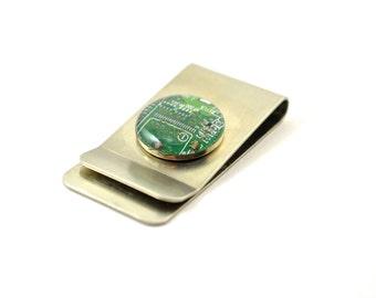 Recycled Circuit Board Money Clip - Geek Gift - Metal Wallet - Money Clip Wallet