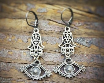 Hamsa Hand and Evil Eye earrings, protection and good luck