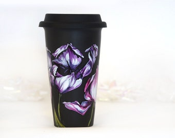 Black Ceramic Travel Mug - Tulips, Botanical Collection
