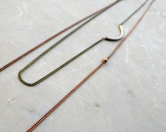 minimalist layering necklace, curved bar necklace, double layer necklace, long delicate necklace, antiqued copper chain