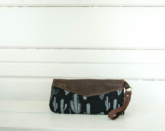 Canvas and Leather Wristlet-  Cactus Pattern