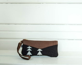 Condensed Black and White Wool Wristlet