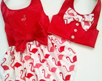 Harness vest and Dog harness Dress: Flamingo or  Patriotic July4  Labor Day Dog clothes Yorkie Chihuahua Dachshund
