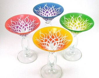 SUMMER SALE Omega Martini Glasses - Strands - Set of 4 - Custom Painted Glassware