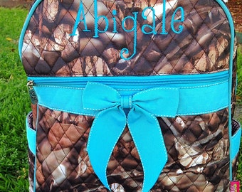 Quilted Camo with Turquoise Backpack Diaper Bag Personalized Includes Monogram