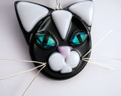 Black cat glass ornament