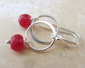 Ruby Circle Earrings, Sterling Silver Circle Dangles, Red Gemstone, Lightweight Earrings, Genuine Ruby