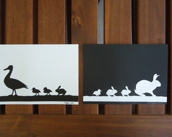 "Ducks and Bunnies Silhouettes Set Cutouts 5""x7"" Framed"