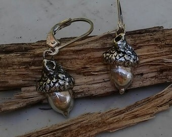 Cutest Tiny Acorn Earrings in Pure Silver