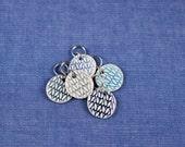 Round Porcelain Stitchmarkers Set of 5 Blue Hues