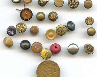 ANTIQUE DOLL BUTTONS Lot of of (25) Antique Victorian Brass Vegetable Ivory Wood  Etc. Teeny Weeny Doll and Baby Size 2701