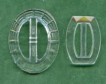 Pair GLASS Belt Buckles Art Deco CLEAR Vintage Lovely 1745