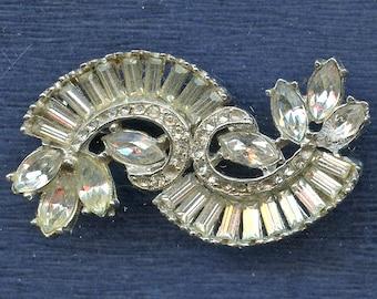 Vintage 1940s ART DECO Rhinestone Pin Brooch Crystal Clear 2255