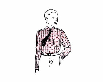 1930s Boys Sport Shirt Womans World 5809 Vintage Sewing Pattern Neck 13 Factory Folded