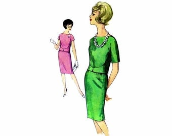 1960s Two-Piece Dress Blouse Skirt Simplicity 4273 Vintage Sewing Pattern Size 14 Bust 34