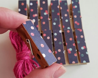 Clothesline Gift - Party Confetti Chunky Little Clothespin Clips w Twine for Display - Set of 12 - Stocking Stuffer