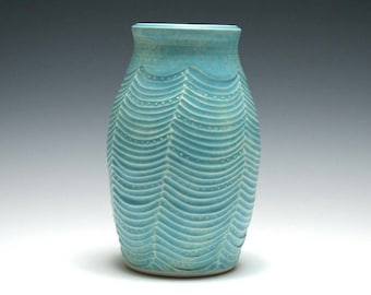 Tahitian Blue Vase with Wavy Carving