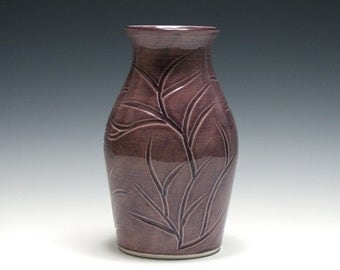 Dusty Purple Vase with Carved Branches