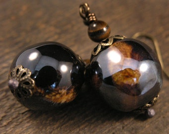 SALE Brown ceramic handmade beads, tiger eye stone and antique brass earrings