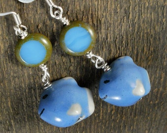 Smiling blue fish, czech glass and silver handmade earrings