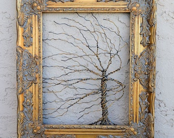 Original Unique Art Object Large Tree Abstract Sculpture ... Wire tree in heavy ornate shabby style Victorian gold leaf frame