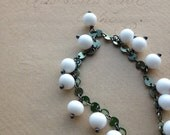 RESERVED for Isa - CLEARANCE SALE Milkmaid Bracelet - Vintage Glass and Oxidized Sterling Silver