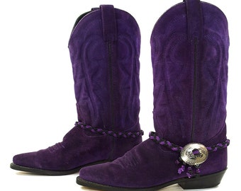 80s Purple Suede Cowboy Boots / Vintage 1980s Novelty Western Boots by Vittorio Ricci / Concho Ankle Harness / Womens Size 7.5