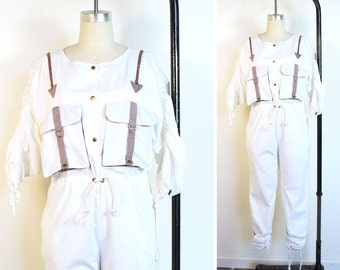 Vintage 1980s Jumpsuit Cotton Jumper with Zippers Surplus Pockets and Drawstrings / Bohemian Avant Garde Hipster Pants Romper in White