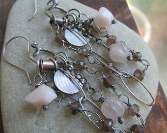 Silver Dangling Earrings Charm Earrings wire wrapped Gemstone Earrings Pink Dangle Earrings Funky Silver Jewelry
