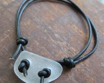 Beach Bum Surfer Bracelet Sea Glass LeatherNecklace White Beach Glass Bracelet Unisex leather Bracelet Mens Leather Jewelry Leather Anklet