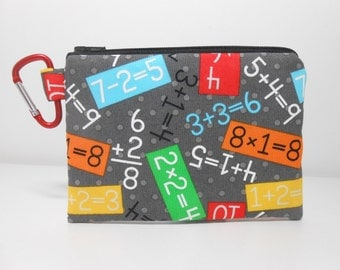 Math Coin Purse, Carabiner Clip Change Purse, Gray Padded Zipper Pouch