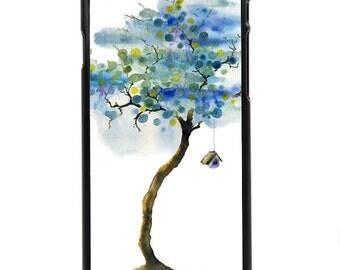 "Phone Case ""Sweet Home"" - Watercolor Art Print Birdhouse Treehouse Purple Summer Tree Blue Bedroom Art Home By Olga Cuttell"
