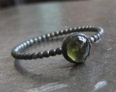 Mini sterling silver green peridot cabochon stacking ring
