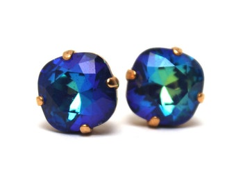 Dark Aqua Crystal Stud Earrings Classic Sparkling Deep Teal Blue Turquoise Bermuda Blue Solitaire Swarovski 12mm Sterling Silver Post Copper