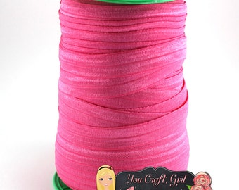 "Fold Over Elastic by the Yard - DIY Headband Elastic - Hot Pink FOE - Elastic Trim - 5 8"" FOE Wholesale FoldOver Elastic - Elastic Hair Ties"