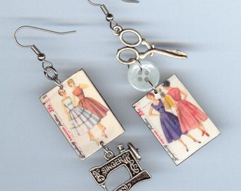 Seamstress Earrings - Vintage Sewing Dress Pattern - Spring fashion Summer colors - Singer scissors - sewers gift - mismatched earring