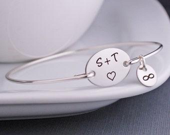 Personalized Anniversary Gift,  Bangle Bracelet, Personalized Engagement Gift,  Custom Bangle Bracelet Love Custom Silver