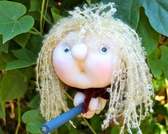 Luna the Moon Witch - Kitchen Witch Doll - Herb Witch - Green Witch - Good luck doll for your kitchen!