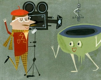 The director demanded absolute perfection. Original gouache painting by Matte Stephens.