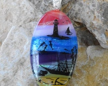 Oval Lighthouse Pendant, Beach Jewelry, Mermaids on Dichroic Glass, Landscape Pendant, Scenic Glass Pendant, Fused Glass Jewelry, Ocean