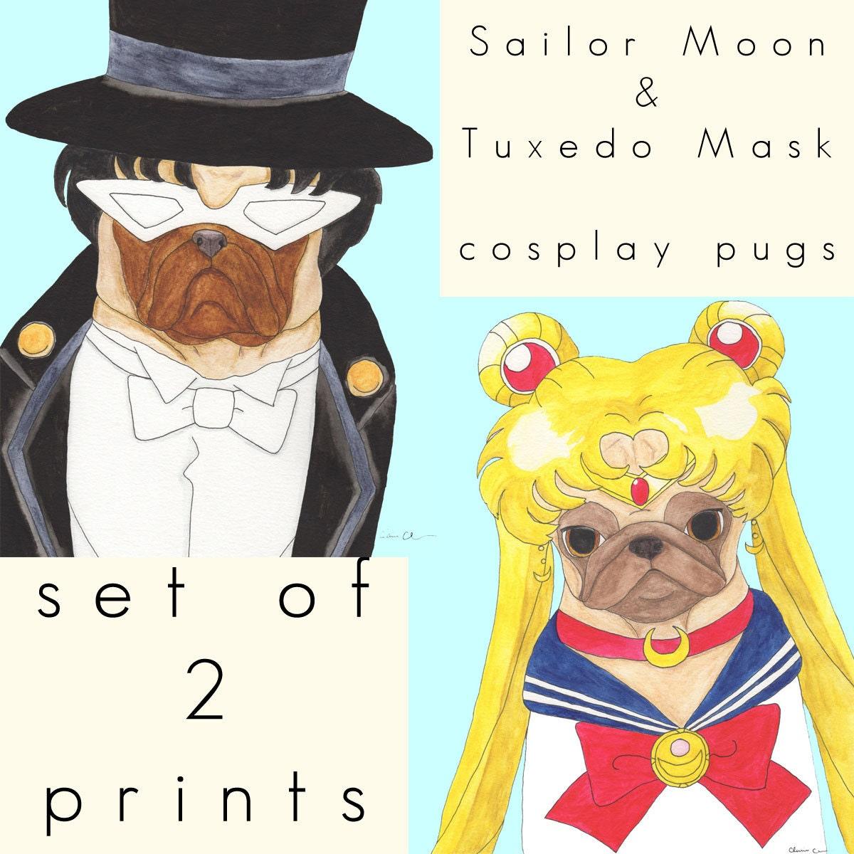 Sailor Moon & Tuxedo Mask Pug Art Print Set Funny Animal Art