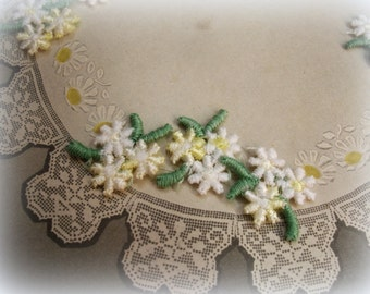 48 vintage yellow and white floral appliques little girl appliques little flower appliques in shades of yellow and white with green leaves