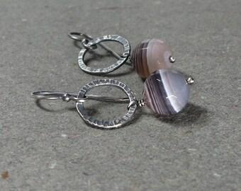 Botswana Agate Earrings Brown Gemstone Earrings Earrings Oxidized Earrings Sterling Silver